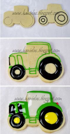 Only few days before Valentine's Day I'm going to share with you few of my latest cookie projects, starting today : John Deere inspired Cookies for Valentine's day. Tractor is what Tractor Cookies, Farm Cookies, Cute Cookies, Easter Cookies, Cupcake Cookies, Cookies Et Biscuits, Cupcakes, Cookie Favors, Christmas Cookies