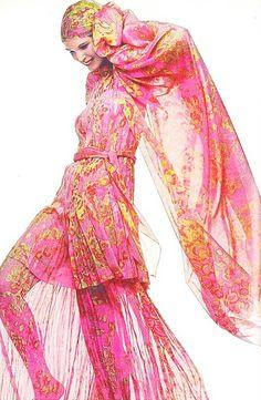70's vintage hot pink maxi dress / hippie long dress / see trough chiffon dress by Skomoroki