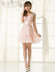47cc90cd8bb78   59.99  A-Line Straps Short   Mini Chiffon Bridesmaid Dress with Ruffles
