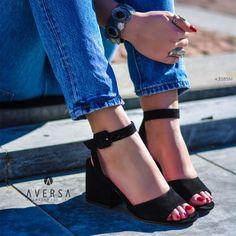 Sandalo con tacco Steve Madden Debbie camoscio nero