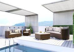 oltre umely ratan sedacia suprava okruhla Venezia brown Outdoor Garden Furniture, Outdoor Decor, Backyard Fences, Sun Lounger, Rattan, Sofa, Praha, Design, Home Decor