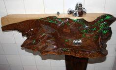 Wood sink of solid wood.Umywalka drewniana z litego drewna. Wood Sink, Diy Shoe Storage, Solid Wood, Woodworking, Carving, Sinks, Google, Furniture, Woods