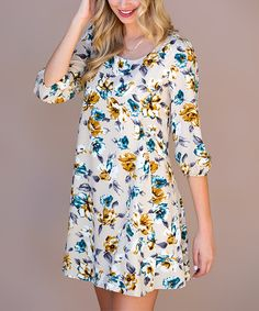 Look what I found on #zulily! Taupe & Blue Floral Leanne Dress by Pink Owl #zulilyfinds