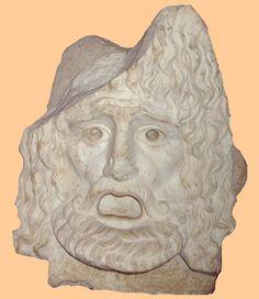 """""""Representación en piedra de una máscara de tragedia.  Ashmoleam Museum (Oxford, Reino Unido).  (Foto: Roberto Lérida Lafarga 05/08/200)""""  Información tomada de catedu."""
