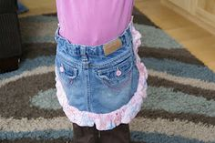 Recycled and re-purposed  jeans apron