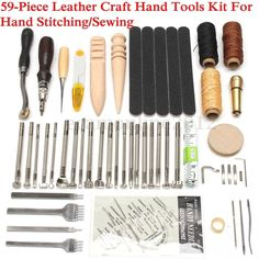 59PCS Leather Craft Tools Kit Set For Hand Stitching Sewing Punch Carving Stamp