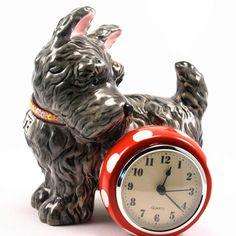 Mary Engelbreit Scottie Dog Clock Polka Dot Red Ball Scottish Terrier - Rare