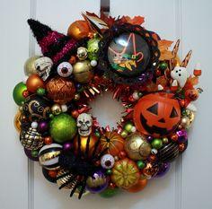 "Halloween Ornament Wreath Vintage Inspired ""Halloween Party"" w/ Pumpkin, Witch, Skull, Eyeballs Beistle Die Cut Kitsch Green Purple Door by KitschmasWreaths on Etsy https://www.etsy.com/listing/483323289/halloween-ornament-wreath-vintage"