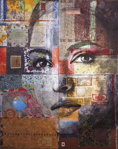 Christine Peloquin-Artwork Wise acrylic, charcoal, fabric and paper collage on four x wood panels Mixed Media Faces, Mixed Media Art, Street Art, Inspiration Artistique, A Level Art, Art Graphique, Portrait Art, Medium Art, Oeuvre D'art