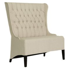 The perfect addition to your living room or master suite, this sophisticated wingback settee showcases button-tufting and a birch wood frame.  ...