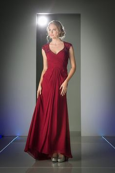 Long Plus Size Evening Dress V Neckline Mother of the Bride Gown