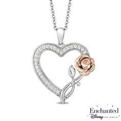Enchanted Disney 1 10 Ct Tw Diamond Belle Rose Pendant