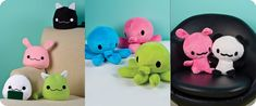 From left to right: Blob plushies, octopus plushies, and sitting plushies. Photos © Fox Chapel Publishing