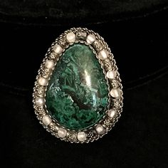 """$79...Vintage Sterling Silver Malachite Pendant Large Silver And Malachite Pendant 1 7/8"""" Long 1.5"""" Wide Southwestern Style Silver Jewelry Israel by LastTangoVintage on Etsy"""