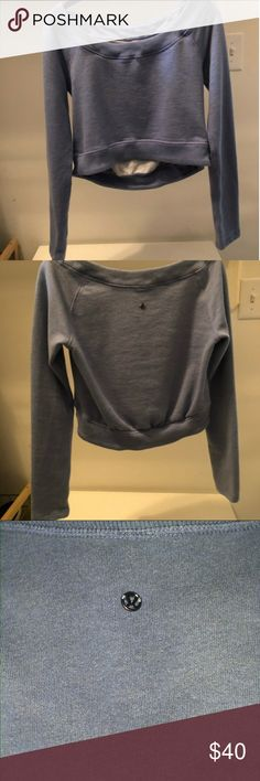 Lulu lemon good karma yoga sweater Faded blue colored Lulu lemon sweater in great condition and so soft. Bought from another posher and not my fit. Tags removed but size 4 lululemon athletica Sweaters