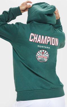 3750e9c94 Green Champion Slogan Oversized Hoodie