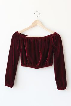 "- Details - Size - Shipping - • 100% Polyster • Velvet off shoulder top • Hand Wash • Line dry • Imported • Measured from small • Length 10.5"" • Chest 14"" • Waist 12"" - Free domestic shipping on U.S."
