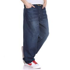 >> Click to Buy << Plus Size Baggy Hip Hop Jeans Men Loose Straight Jeans Dance Skate Board Jeans Size 38 40 42 44 46 #Affiliate