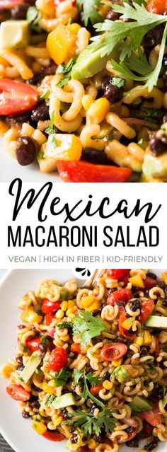 This Mexican Macaroni Salad is secretly healthy! Vegan, gluten free option and SO colorful! Make it for your next summer BBQ party or potluck - nobody will guess it's actually good for you. It's the perfect side dish for any grilling recipes you love, or a super easy dinner salad for the whole family. The tex mex flavors with the black beans, avocado, cilantro and salsa are out of this world! via @savorynothings