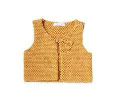 Les tricots de mamy - Gilet sans manche bébé enfant, jaune moutarde, tricoté laine & alpaga - Mamy Factory