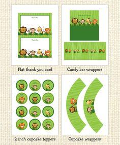 Safari Jungle Animal Printable Birthday Party Pack INSTANT DOWNLOAD