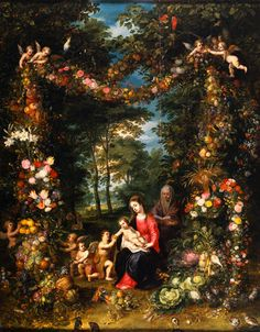 Pieter van Avont & Jan Brueghel the Elder — The Holy Family with St John in a Flower and Fruit Wreath : Alte Pinakothek, Munich. Caravaggio, Family Flowers, Fine Art Prints, Canvas Prints, Hieronymus Bosch, St Anne, John The Baptist, Holy Family, Flower Garlands