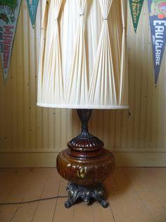 Glass Lamp Amber Lamp Hollywood Regency By OldSteamerTrunkJunk