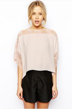 Lace Illusion Poncho Shirt