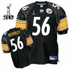 #56 Super Bowl XLV Reebok NFL LaMarr Woodley Black Pittsburgh