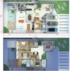 Projeto de sobrado moderno com 4 suítes. Planta para terreno 15x30 Pool House Plans, New House Plans, Sims 4 House Design, Small House Design, Apartment Floor Plans, Small Backyard Pools, Sims 4 Houses, Expensive Houses, House On A Hill