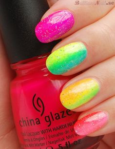 China Glaze Neon Sponged Rainbow Nail Art
