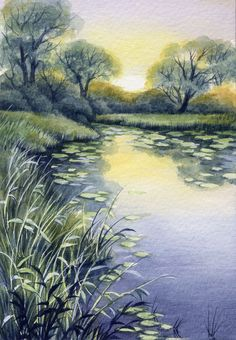 """Watercolor Original 5"""" x 3,5"""" Painting a Day Summer by Elena Mezhibovsky"""