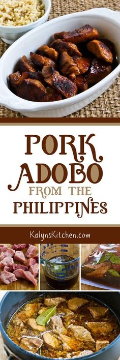 Pork Adobo (from the Philippines) is low-carb and gluten-free in this version I… Pork Recipes, Asian Recipes, Low Carb Recipes, Cooking Recipes, Healthy Recipes, Celiac Recipes, Healthy Food, Comida Filipina, Recipes
