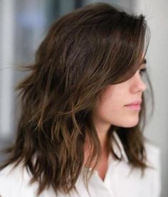 Layered Haircuts for Thick Wavy Hair 2019 80 Sensational Medium Length Haircuts for Thick Hair In 2019 Shoulder Length Layered Hair, Medium Length Hair Cuts With Layers, Medium Hair Cuts, Medium Hair Styles, Curly Hair Styles, Hair Layers, Dark Mid Length Hair, Medium Choppy Layers, Choppy Mid Length Hair