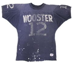 60's Tatakitagu champion '' WOOSTER '' both sides both shoulders numbering short sleeve Football T notation (44)