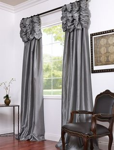 These ruched header drapes represent extravagant luxury that adds a new dimension to your window decor. This curtain panel is tailored from the finest shimmering faux silk taffeta in gorgeous tones with contrasting embroidered details. 108 Inch Curtains, Faux Silk Curtains, Drapes Curtains, Valances, Shower Curtains, Drapery Designs, Woman Bedroom, Custom Window Treatments, Drapery Panels