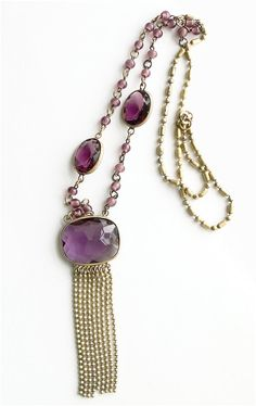 Vintage Art Deco Amethyst Glass necklace.  by JewelryOnVintageLane