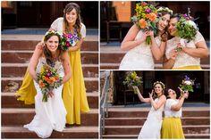 White and yellow bridesmaid separates