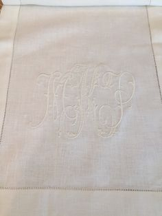 Monogrammed with New Initials ~ A Table Runner for the Wedding Cake @SOUTHchapelhill.com