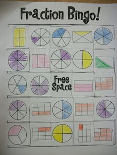 Fractions: WHO DOESN'T LOVE BINGO. Plus, students are in charge of making and labeling their own pictures and making their own bingo cards so there is a lot of independent learning taking place as well.