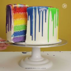 How to make Rainbow Cake that Bursts with Sprinkle Surprises! How to make Rainbow Cake that Bursts with Sprinkle Surprises! Sprinkle inside and rainbow icing looks like unicorn vomit Three Friends by Tracy Wazny Ain't no party like a rainbow sprinkle su Fondant Wedding Cakes, Fondant Cakes, Cupcake Cakes, Buttercream Frosting, Frosting Colors, Sweets Cake, Rainbow Food, Cake Rainbow, Rainbow Art