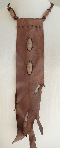 Brown leather bib made from deer hide,necklace, tribal, rustic,primitive,fantasy, hand stitched, natural rough edge, handmade, fall gift