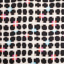 Black and Beige Geometric Sqaures Stretch Cotton Woven