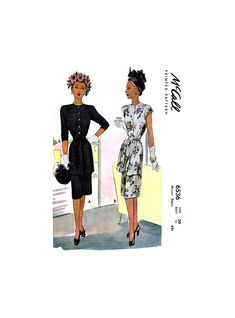 Peplum Style Tunic Front Dress with Cap or Three Quarter Sleeves, Bust Waist McCall's Vintage Sewing Pattern Reproduction Vintage Sewing Patterns, 1940s, Bodice, Peplum, Tunic, Cap, Prints, Sleeves
