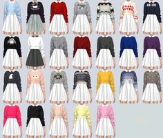 Sims4 Marigold — Knit Sweater One-Piece &A Dress &Heart Button...