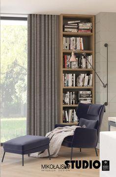 forma półki i generalnie idea zakątka mola książkowego:) Interior Design Awards, Studio Interior, Interior Design Living Room, Bookcase, Shelves, Curtains, Bedroom, Flat, Inspiration