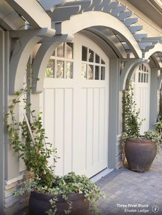 Curved trellis over garage doors. CURB APPEAL – traditional garage and shed by. - Curved trellis over garage doors. CURB APPEAL – traditional garage and shed by Three River Stone - Garage Door Design, Garage Doors, Garage Door Decor, Garage Door Makeover, Garage Renovation, Garage Cabinets, Outdoor Spaces, Outdoor Living, Outdoor Decor