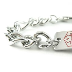Clic Pre Engraved Coumadin Bracelet Thick Figaro Chain
