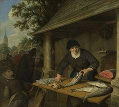 Adriaen van Ostade | The fishwife, Adriaen van Ostade, 1672 | De visverkoopster. Achter een stalletje op de markt maakt een vrouw vissen schoon. Op tafel liggen een krab en verschillende grote en kleine vissen (schelvis en schar), rechts een grote doorgesneden zalm en een weegschaal.