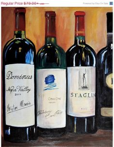 ON SALE Wine bottle painting, Opus one, Dominus and Staglin Cabernets, limited edition Giclee print on canvas, kitchen art , gift for brothe #artprint #Tangoart